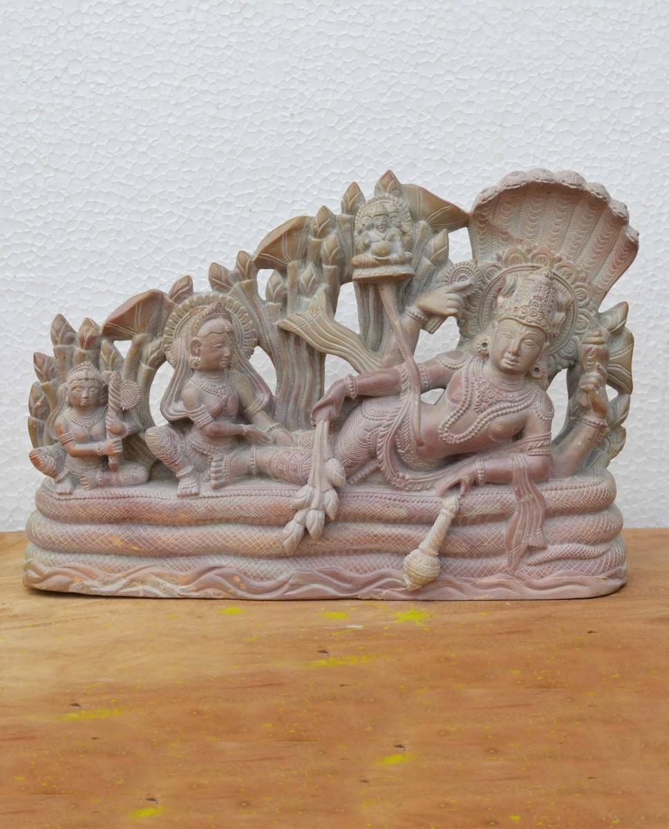 Soap Stone Lord Vishnu Anantashayana 8 Inch B11