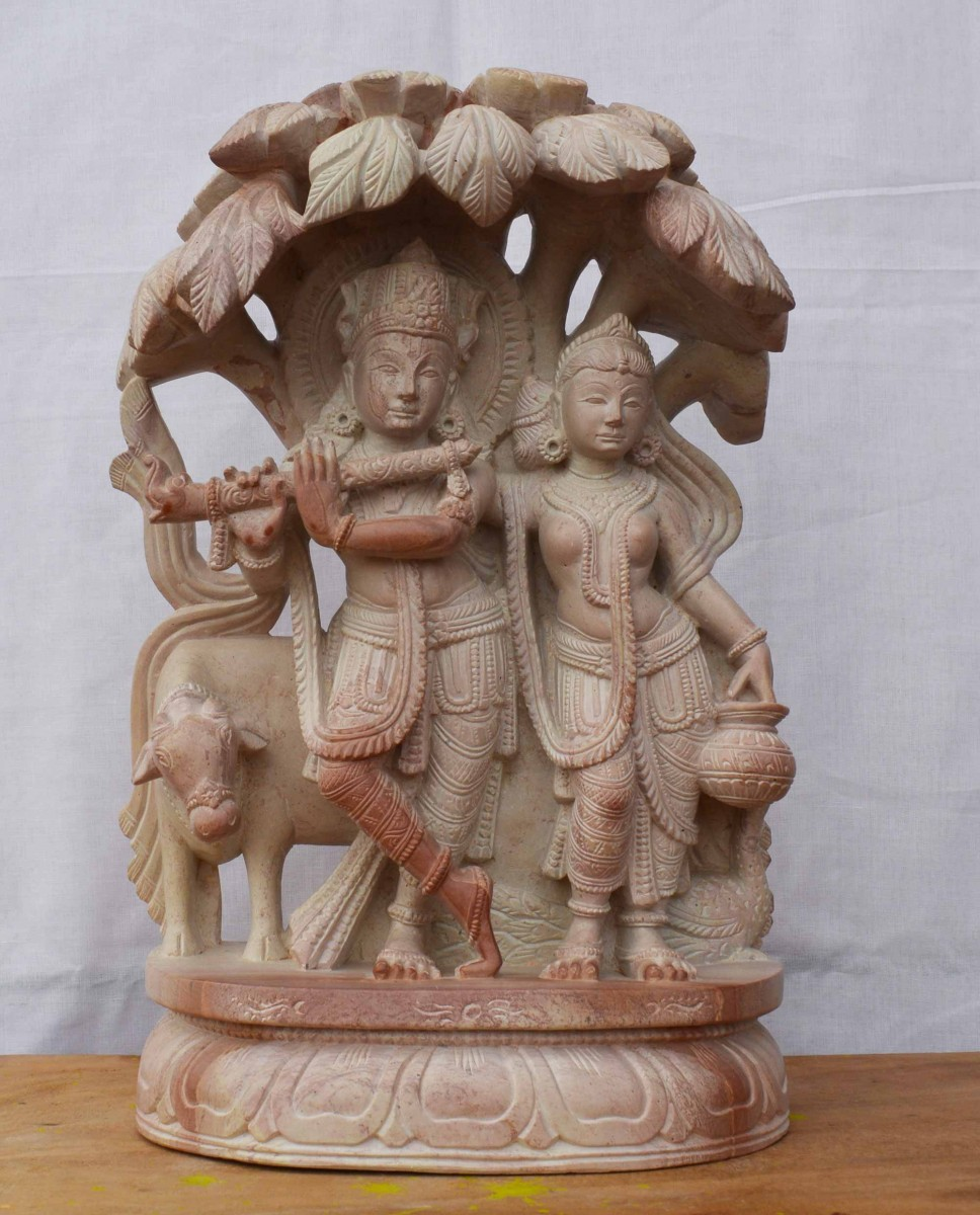 Radha Krishna Standing Under A Tree With Cow Sculpture 12