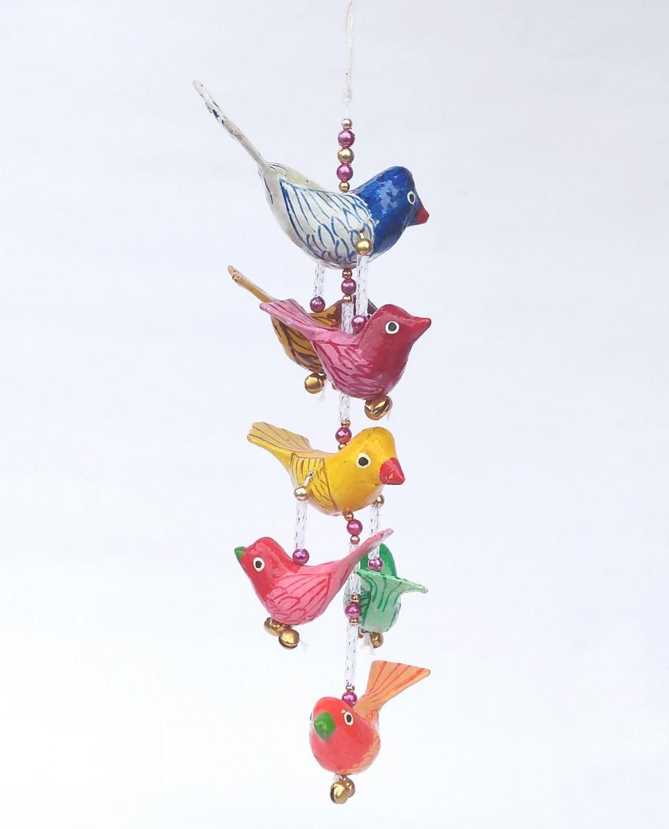 Paper Mache Bird Hanging Mobile 7 Birds