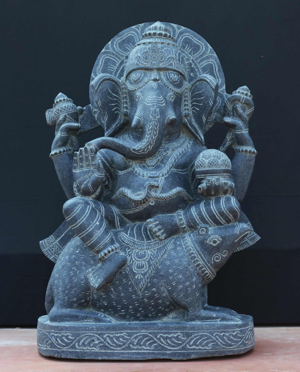 Ganesha sitted on mouse black stone statue 24 inch