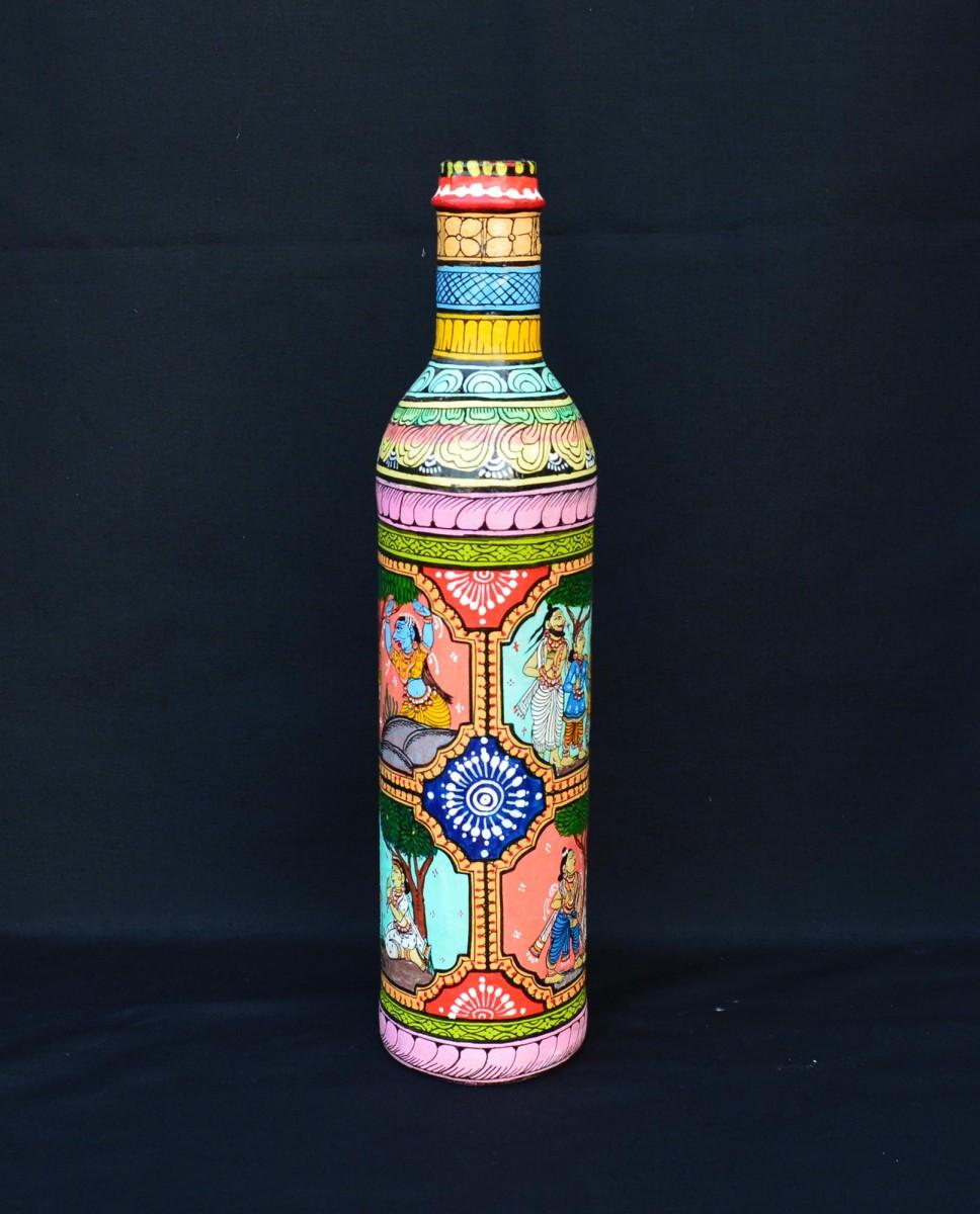 Ramayana Legends Pattachitra Painting Bottle