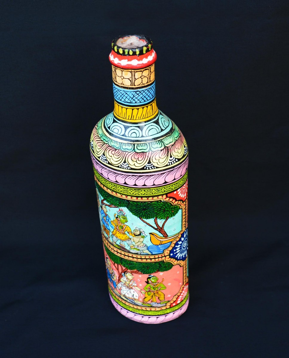 Ramayana Legends Pattachitra Painting Bottle