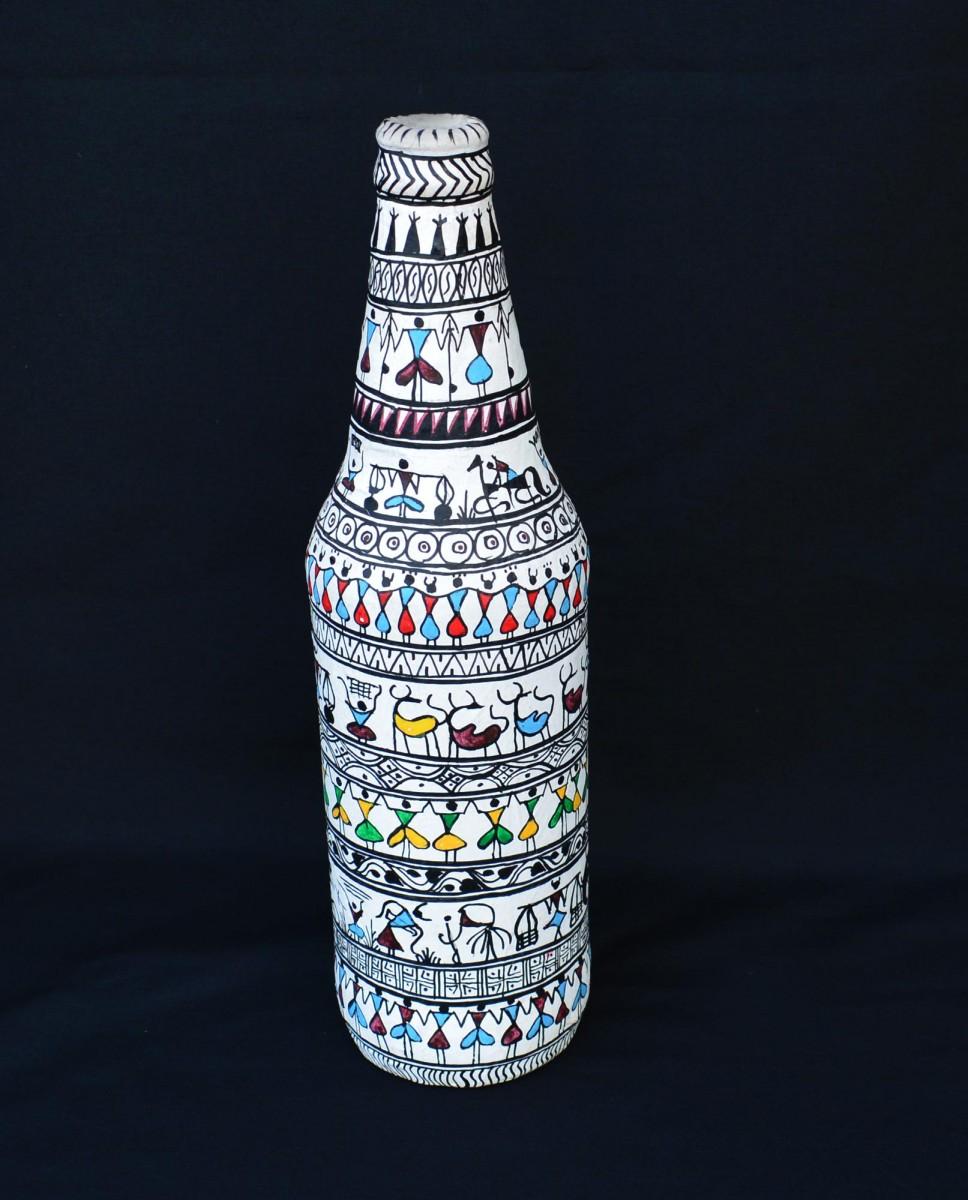 Tribal Life White Pattachitra Painting Bottle